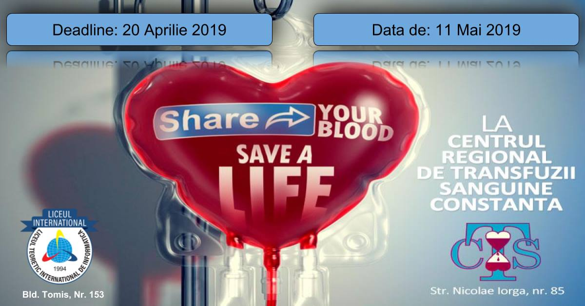 Liceul International organizeaza, in parteneriat cu Centrul Regional de Transfuzii Sanguine Constanta