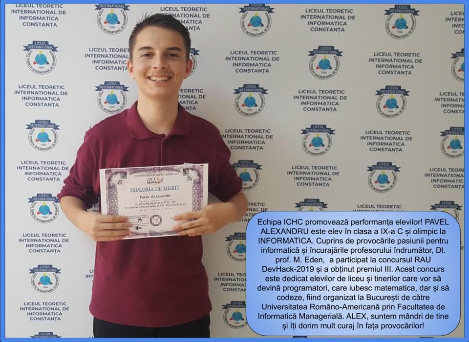 PAVEL ALEXANDRU este elev în clasa aX-a C și olimpic la INFORMATICĂ